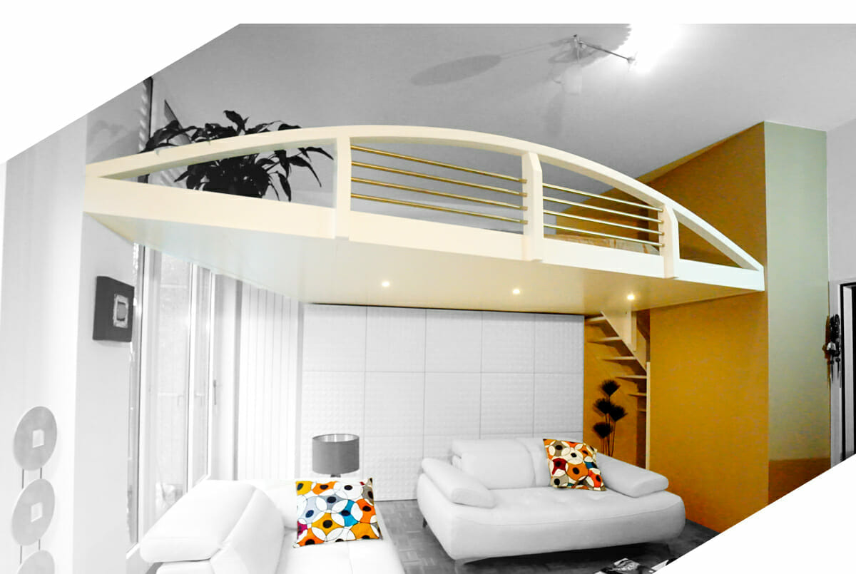 une mezzanine suspendue adapt e votre. Black Bedroom Furniture Sets. Home Design Ideas