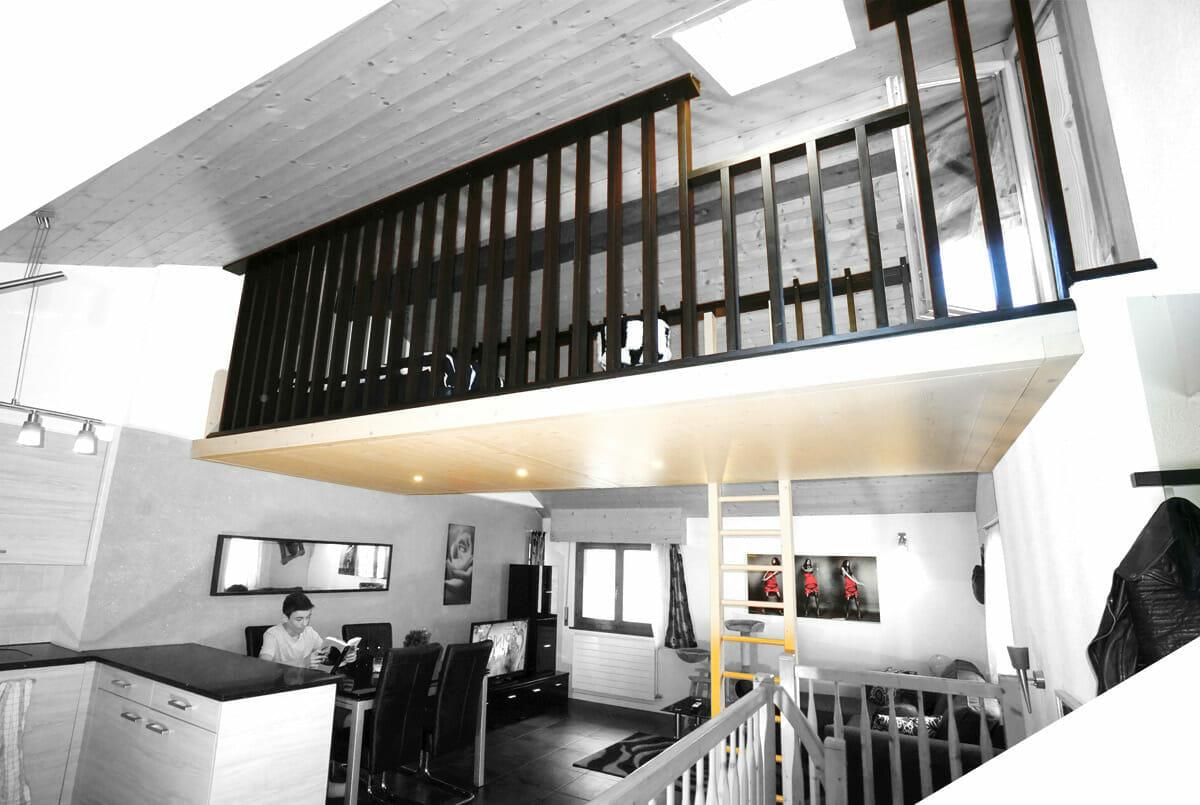 plateforme une mezzanine suspendue adapt e votre espace. Black Bedroom Furniture Sets. Home Design Ideas
